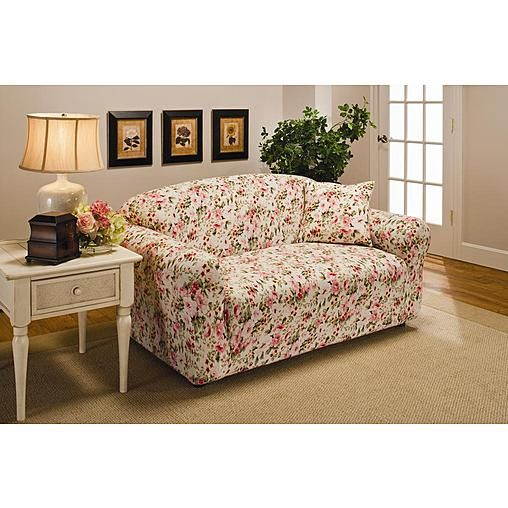 Awe Inspiring Madison Jersey Pink Floral Loveseat Slipcover Kmart Sears Onthecornerstone Fun Painted Chair Ideas Images Onthecornerstoneorg