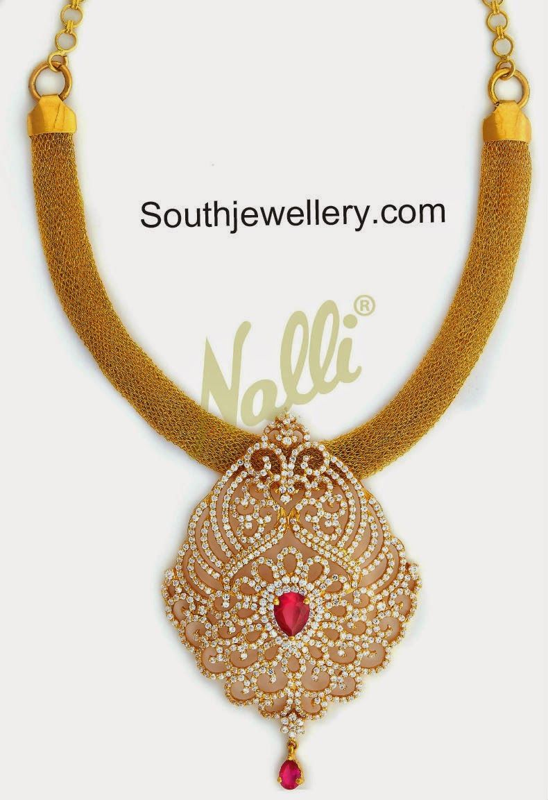 mesh gold necklace with cz stones pendant | Jewellery ...