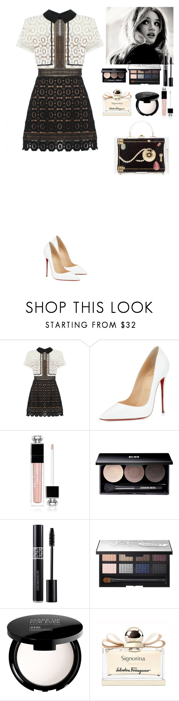 """""""Fab outfit"""" by eliza-redkina ❤ liked on Polyvore featuring self-portrait, Christian Louboutin, Christian Dior, Edward Bess, NARS Cosmetics, MAKE UP FOR EVER, Salvatore Ferragamo, Charlotte Olympia, women's clothing and women's fashion"""