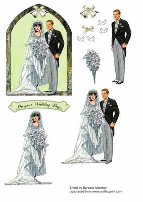 Wedding Couple with Green Archway on Craftsuprint designed by Barbara Alderson - Simple floral arch frames this Wedding Couple - Now available for download!