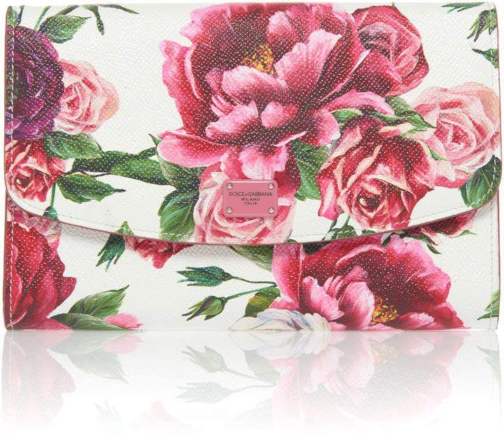 Cartera cuero Rosce de floral con Gabbana Dolce estampado de r7qrx65R