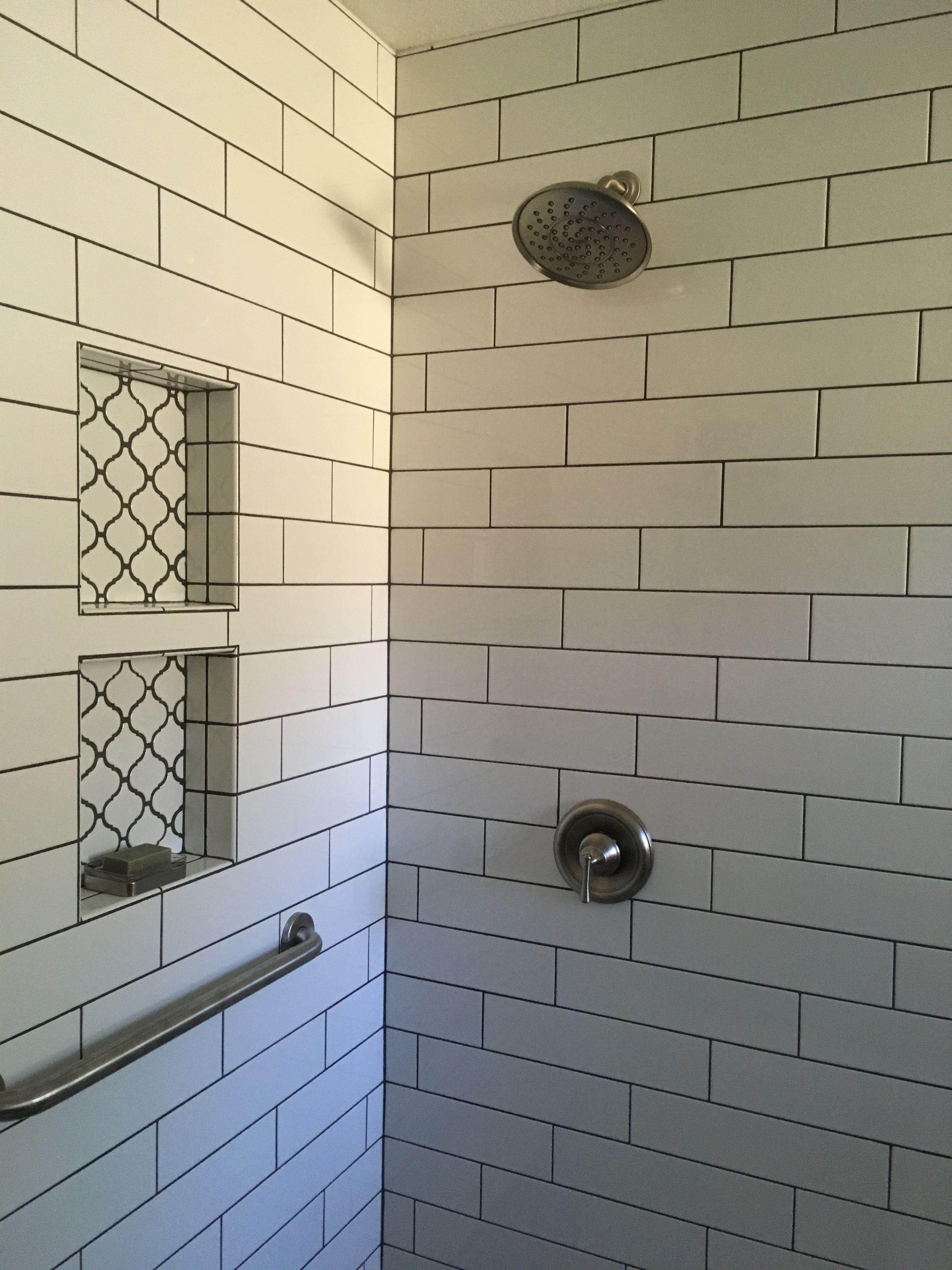 Charcoal Gray Grout 4 X 16 White Subway Tile Moen Showerhead