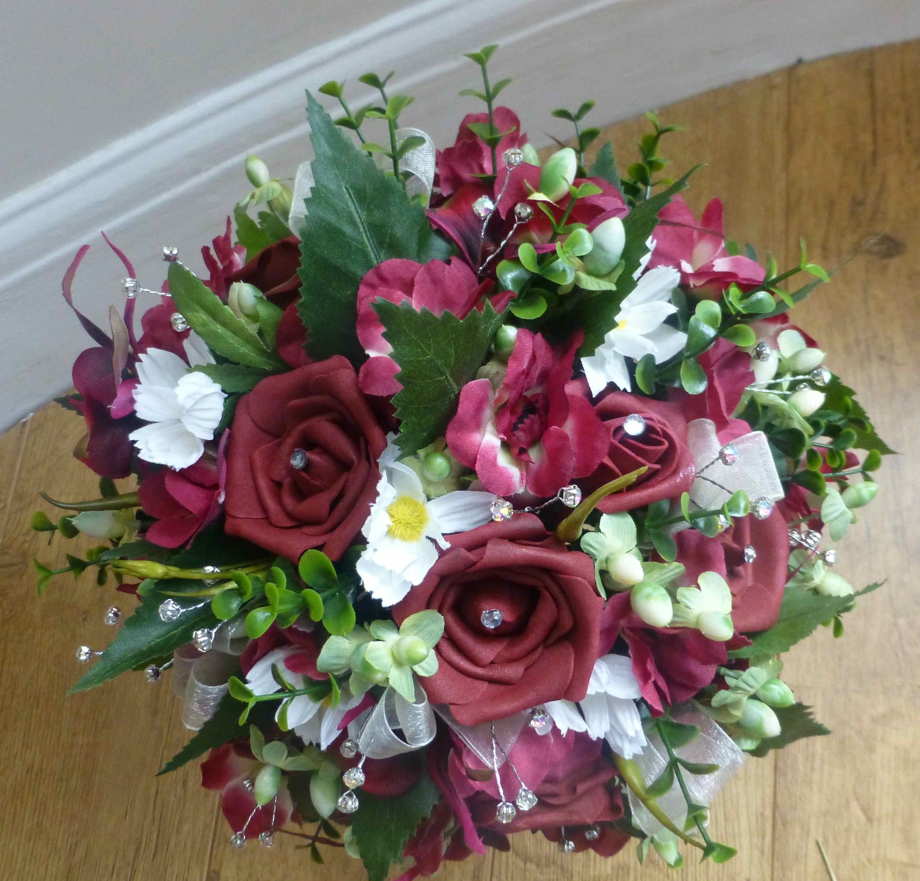Artificial Wedding Bouquet Of Deep Red Burgundy Roses Ivory And Green By