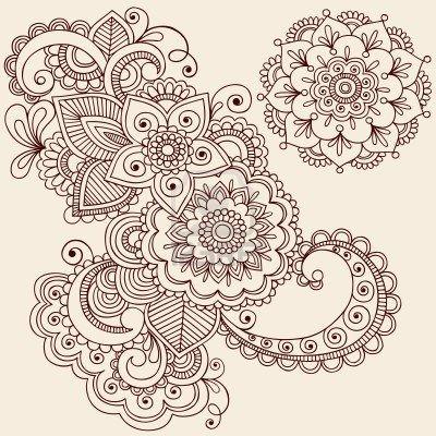 Hand-Drawn Henna Mehndi Tattoo Cover up...