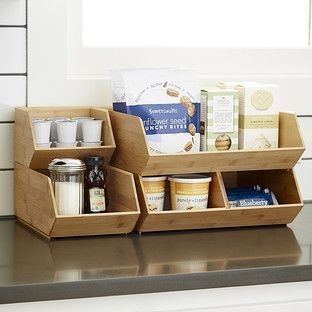 Stackable Bamboo Storage Bins the Container Store 999 2499