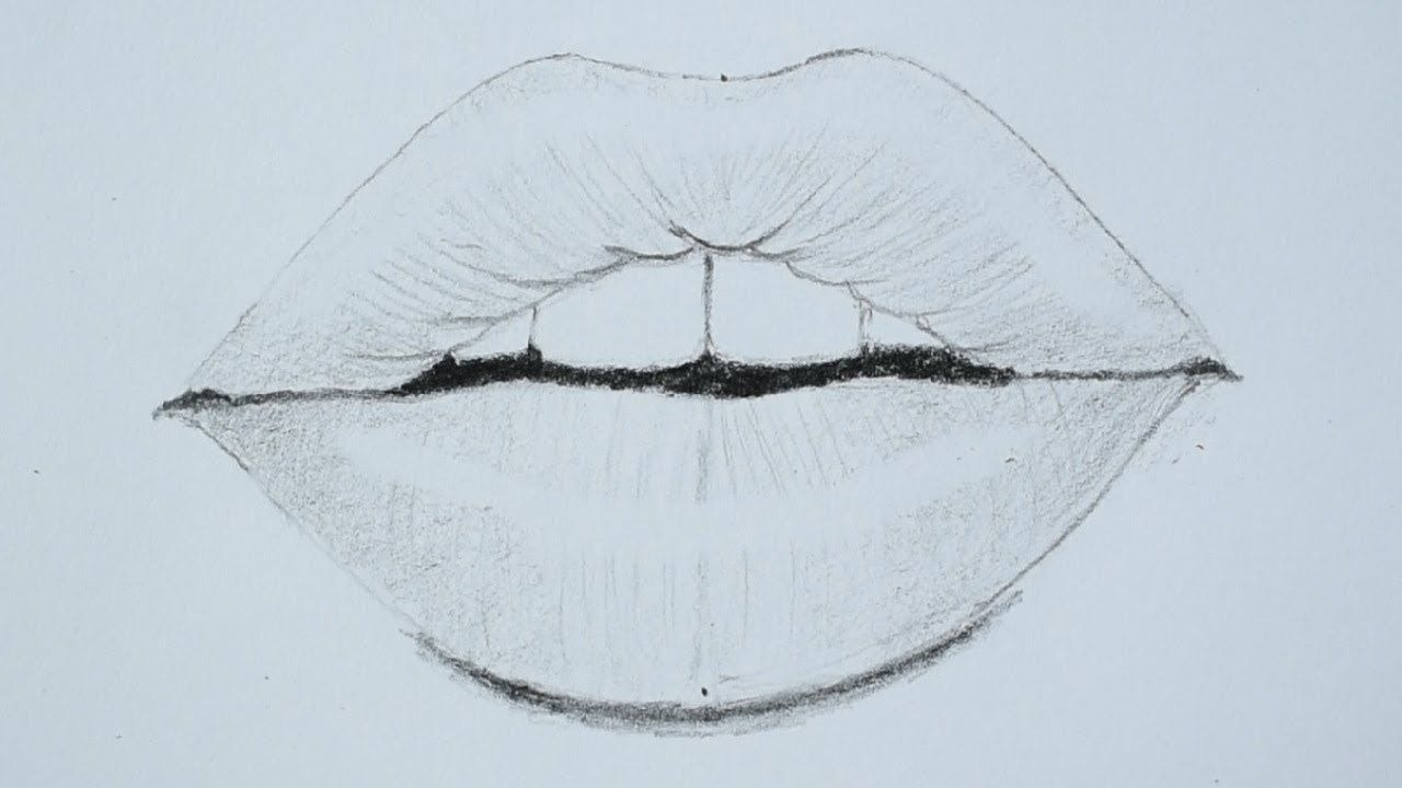 How to draw lips using pencil for beginners - YouTube ...