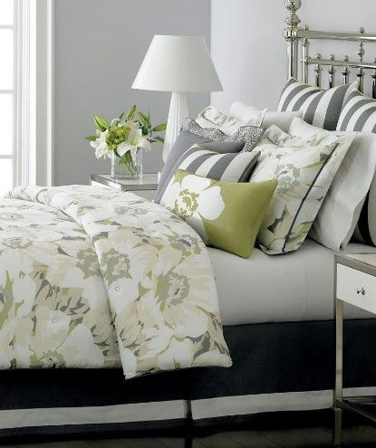 Bold Grey And White Stripes Paired With A Green Tan And White Floral Bedroom Green Grey Bedroom Design Bedroom Design