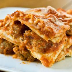 Three-Layer Lasagna - sweet Italian sausage, mozzarella, ricotta & Parmesan create layers of oozy goodness