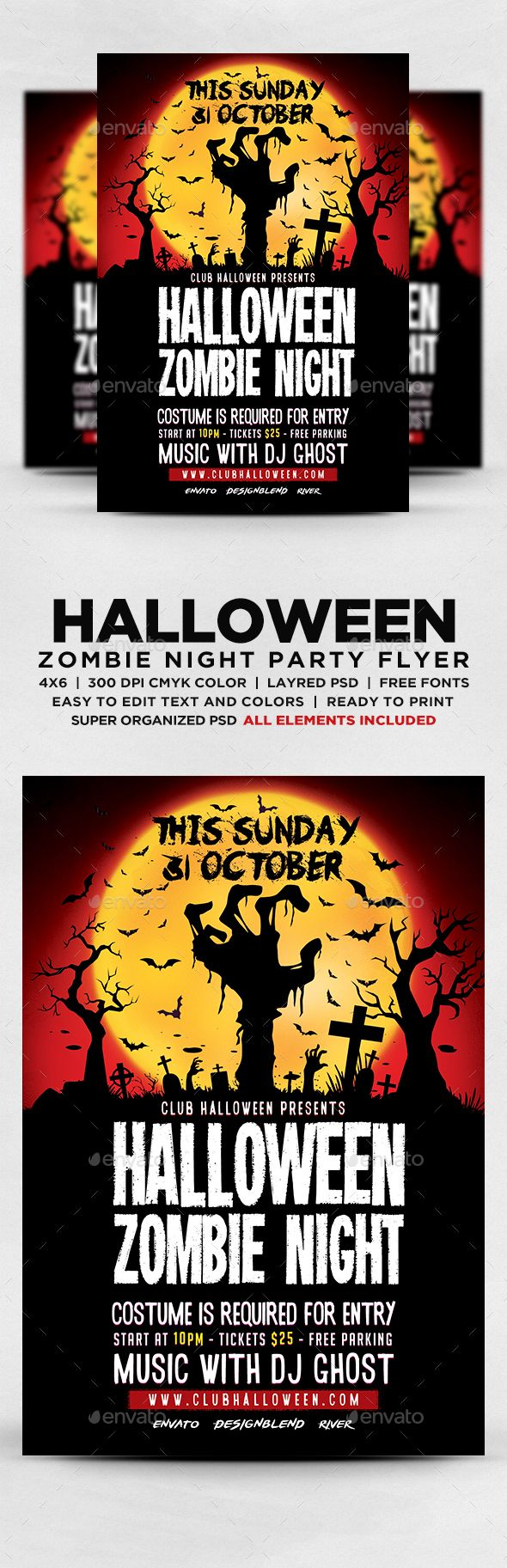 Halloween Zombie Night Flyer Template PSD | Halloween Flyer ...