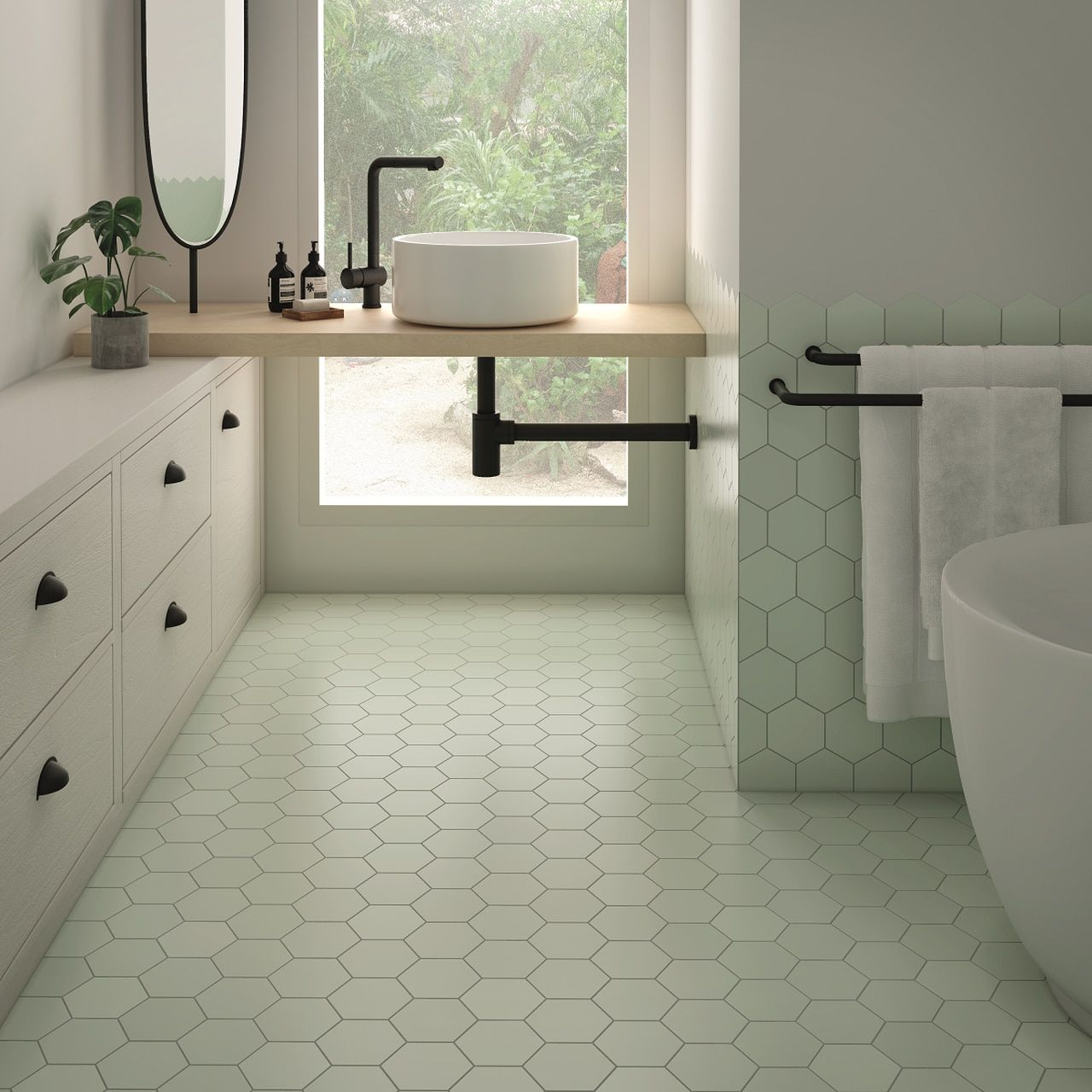 Kromatika 5 X 4 Mint Matte Finish Hexagon Porcelain Floor Wall Tile 5 97 Per Square Foot In 2020 Hexagon Tile Kitchen Floor Hexagon Tile Bathroom Floor White Hexagon Tile Bathroom
