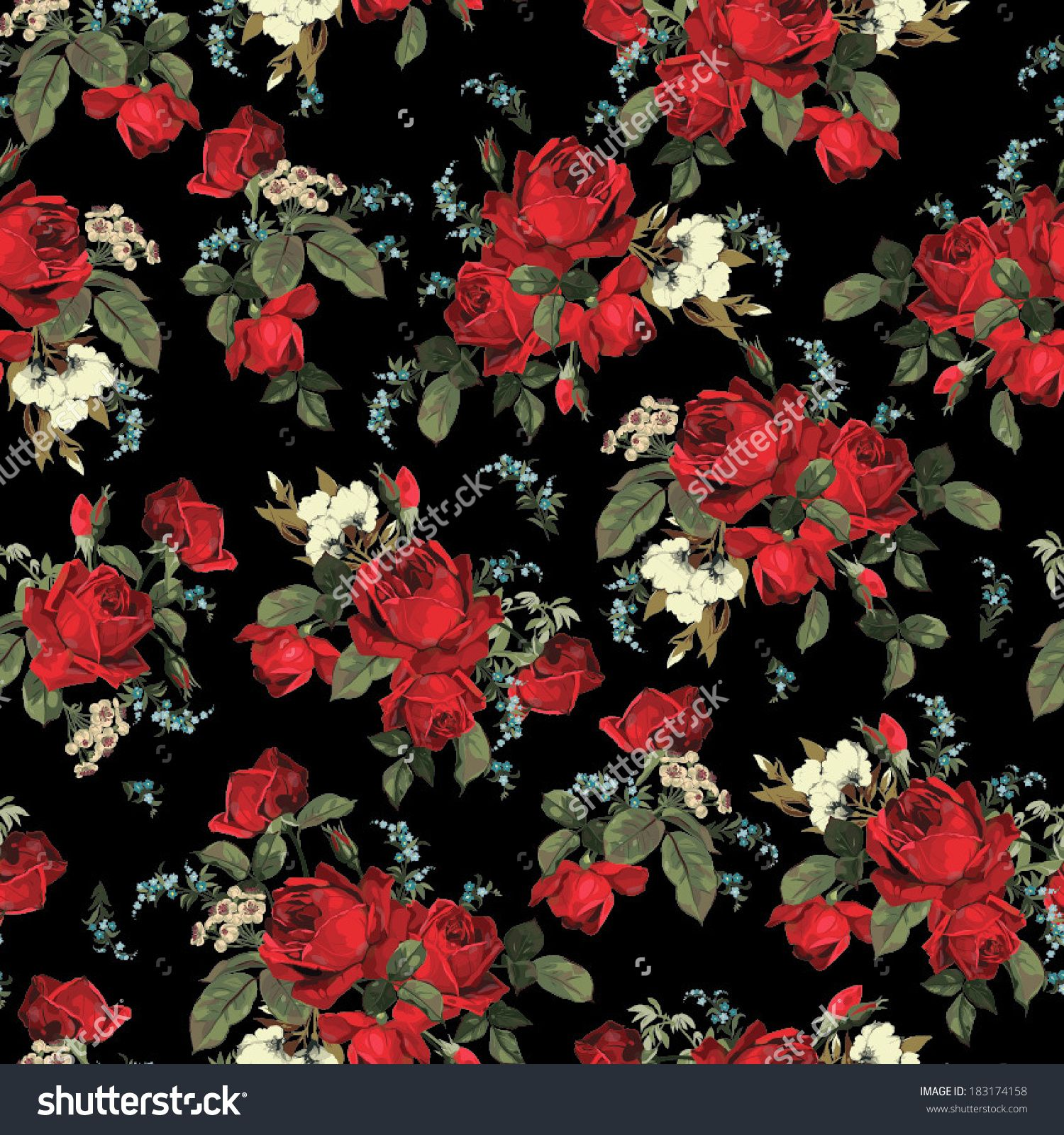 Seamless Floral Pattern With Of Red Roses On Black Background