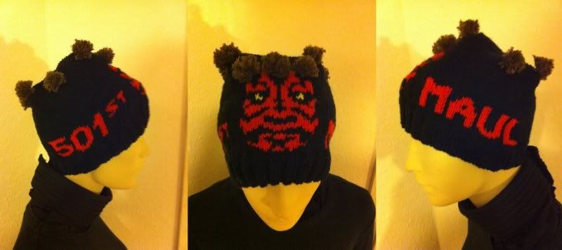 Knitted Darth Maul beanie, made for a friend.