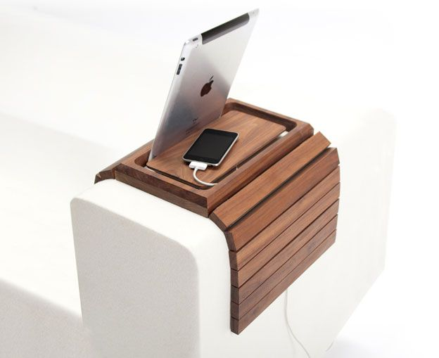 Thatu0027s What We Call Useful, A Couch Arm Table That Charges Your Handhelds