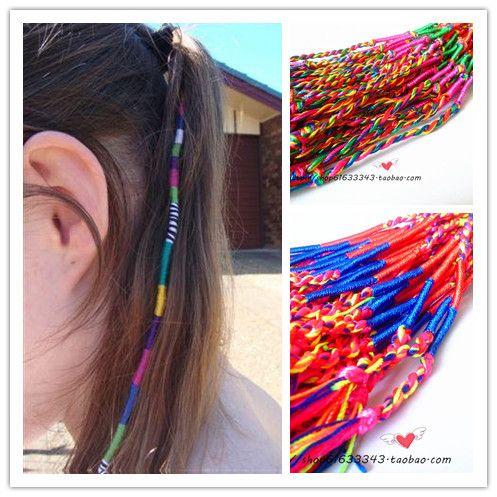 boho multi color beauty diy hair wrap weave braided rope