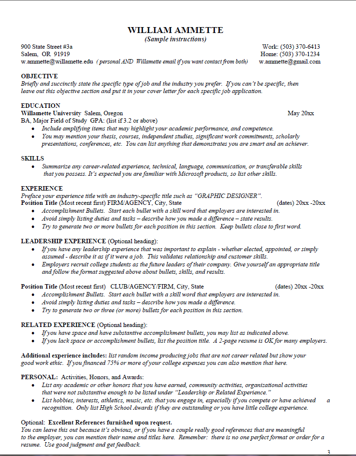 Sample Instructions on how to create a great resume. Want more information?  Click on