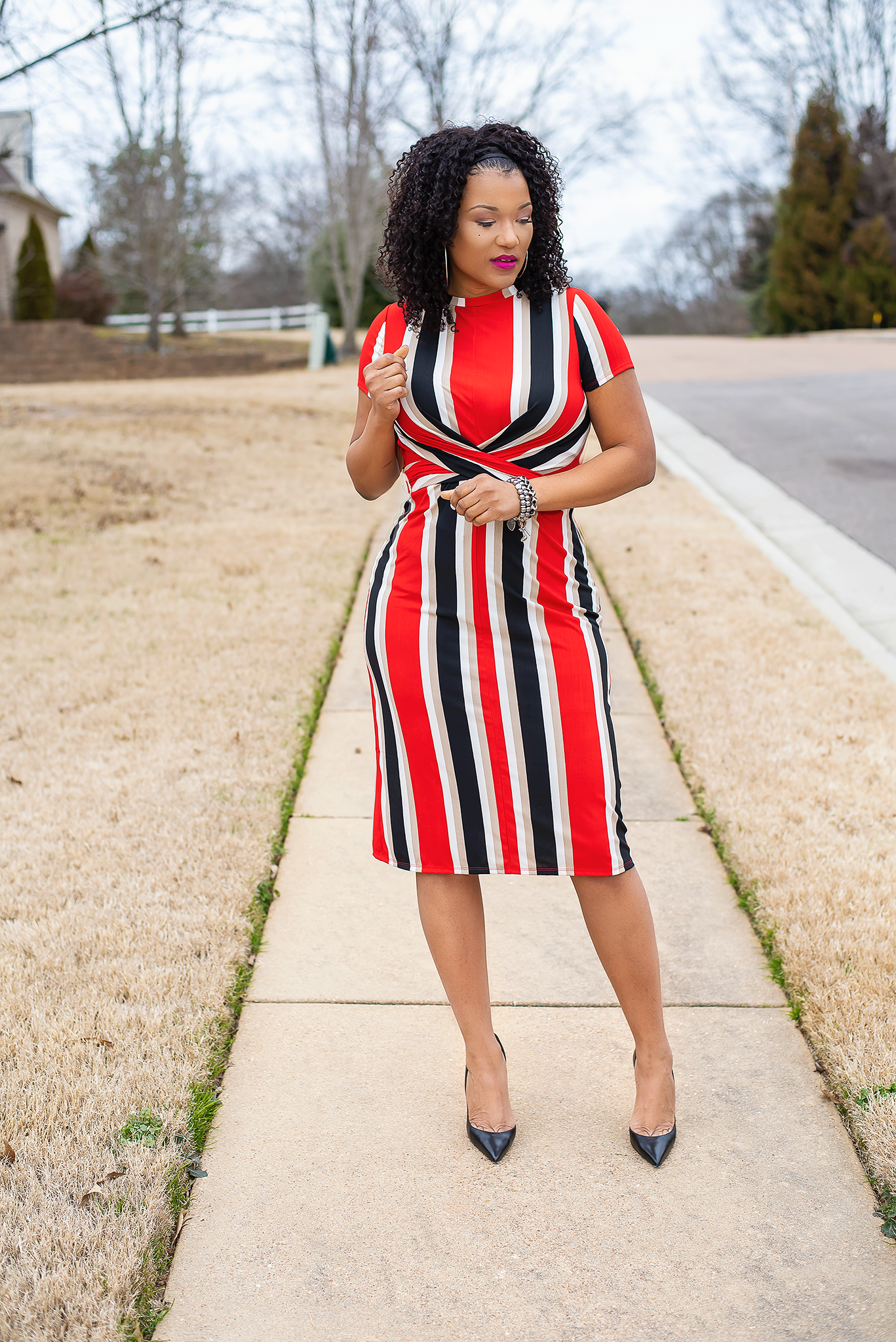 ad0449a9f8977d Ladies red, black and white striped fitted stripe midi dress | Dresses to  wear to