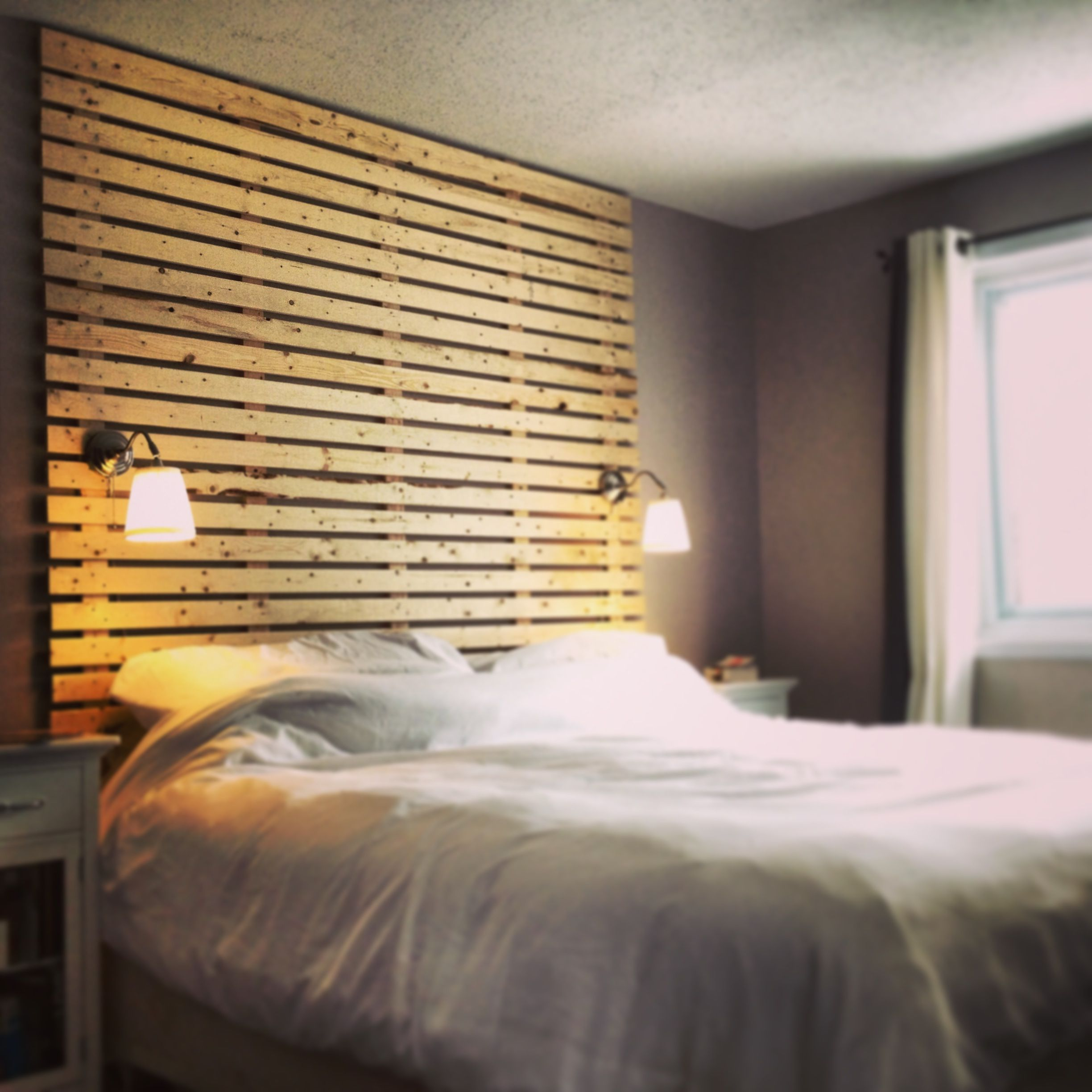 Just Finished This Floor To Ceiling King Size Slat Headboard. The Wood Is  Still Natural