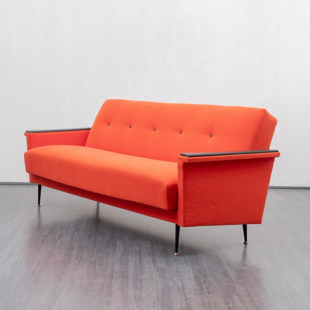 Coral red sofa with fold-out function, 1950s | #97145 ...