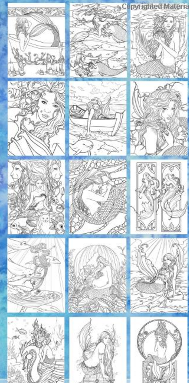 The Designs In This Mermaid Adult Coloring Book Are Breathtaking I Want To Color Them All Even These With My Kids Too