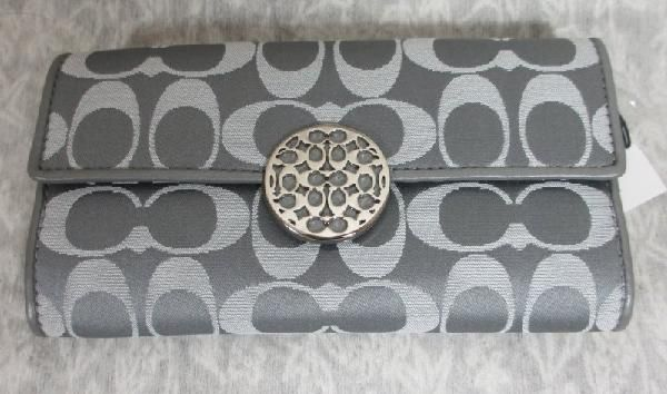 Coach Signature Grey Silver  Slim Envelope Wallet Brand New with Tag F 46765 Free Shipping