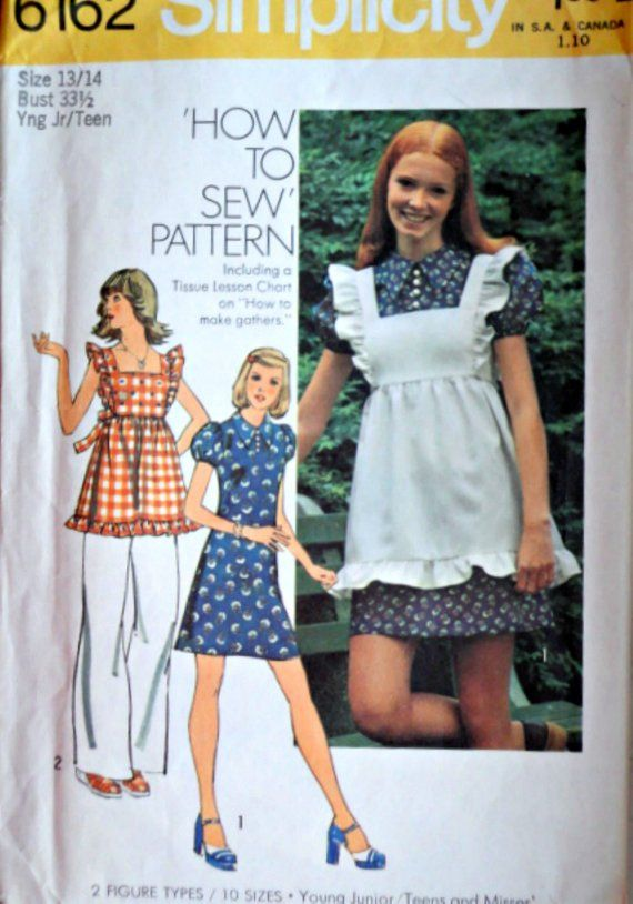8132bb01ca643 Vintage 70 s Simplicity 6162 Sewing Pattern Young Junior Teen s Pinafore    Mini Dress Size 13 14
