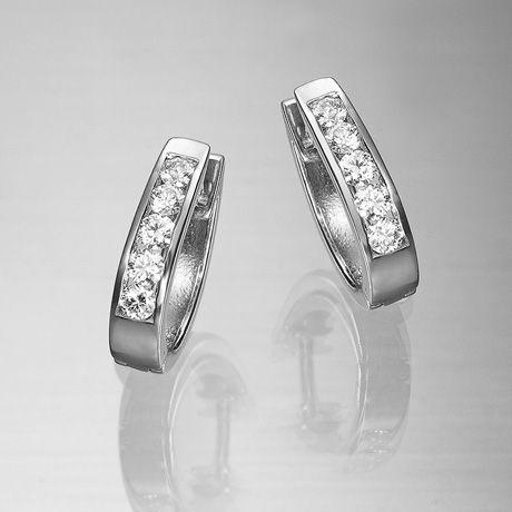 Pendientes De Brillantes Aro Brillantes Pendientes De Oro Blanco 1ª Ley Engastados Con Cinco Diamantes Tall Aros Pendientes De Diamantes Joyas De Aniversario