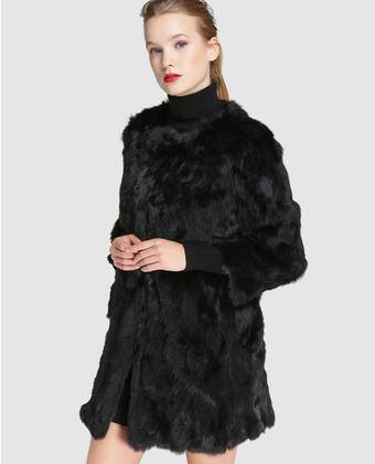 Abrigo Mujer Negro Conejo De En Easy Pelo Wear ppw7SrRq