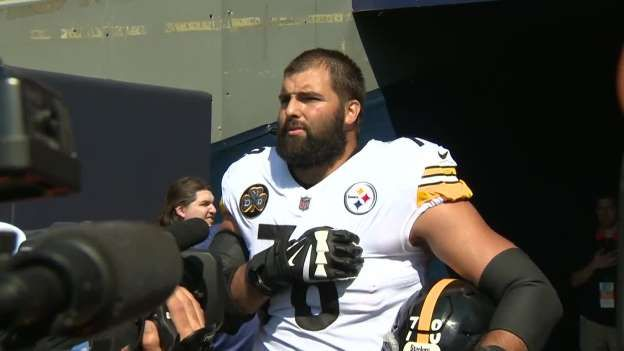 Alejandro Villaneuva stands outside of Stellers tunnel during National  Anthem. ebf6d39c9d0