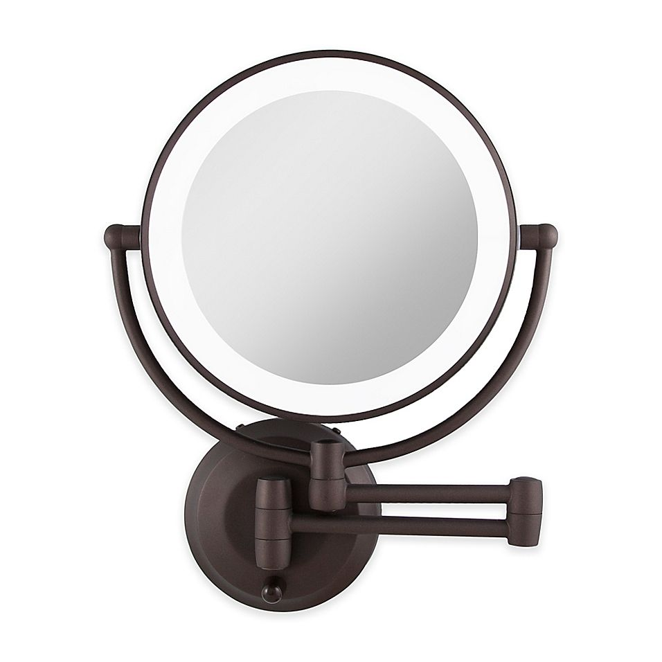 Zadro Dual Sided Round Led Lighted Wall Mount Mirror In Oil Rubbed