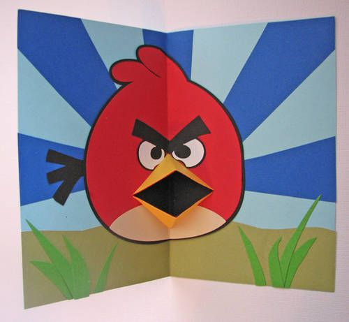 Pin By Rebecca Liu On Kids Art Lesson Ideas Pop Up Card Templates Birthday Card Pop Up Angry Birds
