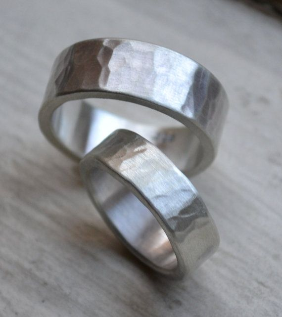 Hammered Silver Wedding Bands Matte Finish Handmade Rustic Sterling Band Set His And Hers Customized