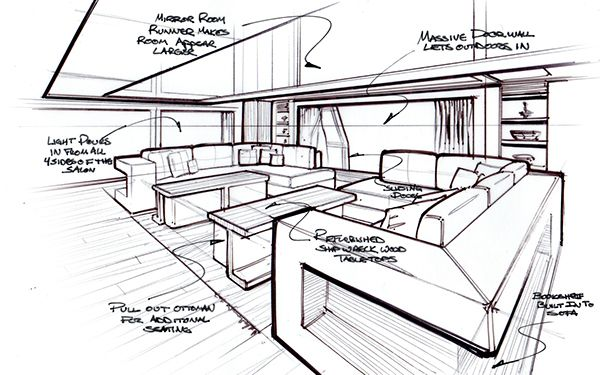 Innenarchitektur Yacht motor yacht sketching cerca con boats houseboats and