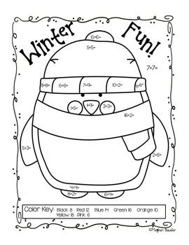 Winter Addition Color By Code Freebie Addition Coloring Sheets Winter Kindergarten Winter Math