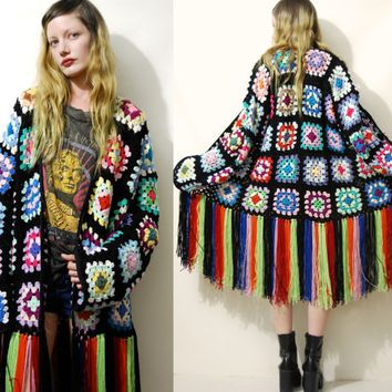 Crochet GRANNY SQUARE Cardigan Colourful Rainbow / Black Fringe Fringed Vintage Knit Knitted Oversized Jacket Kawaii Bohemian Gypsy S M L xl