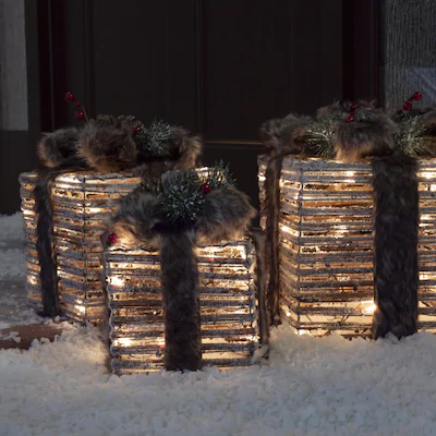 Holiday Living HL 3-PC Grapevine Gift Box at Lowes.com | Festive gifts, Holiday, Incandescent lights