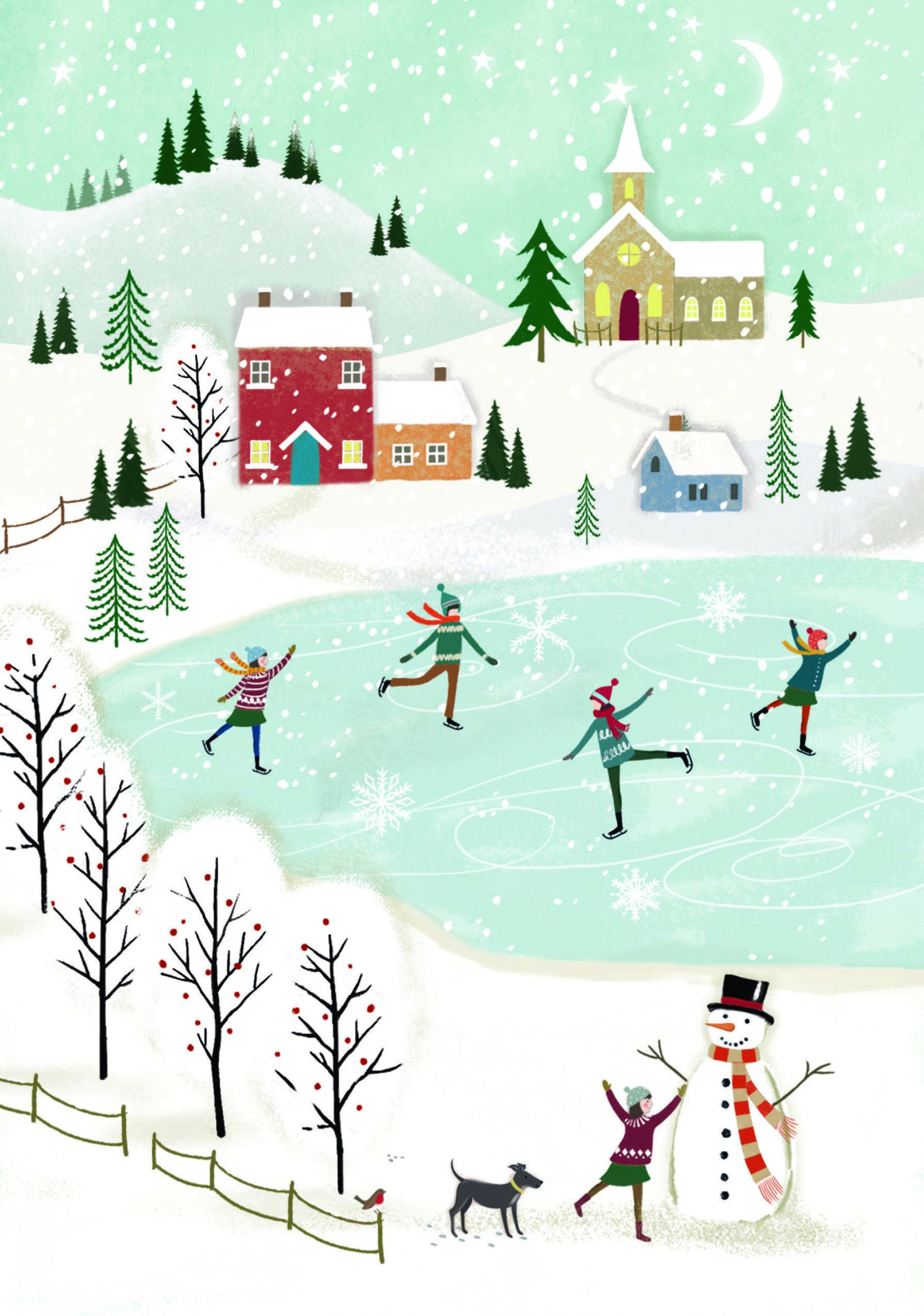 Christmas Skating Charity Christmas Card Christmas