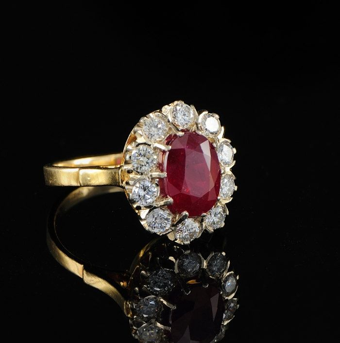 Vintage Jewellery 14k Yellow Gold Over Ring Opal Rubies Antique Art Deco 2.65Ct