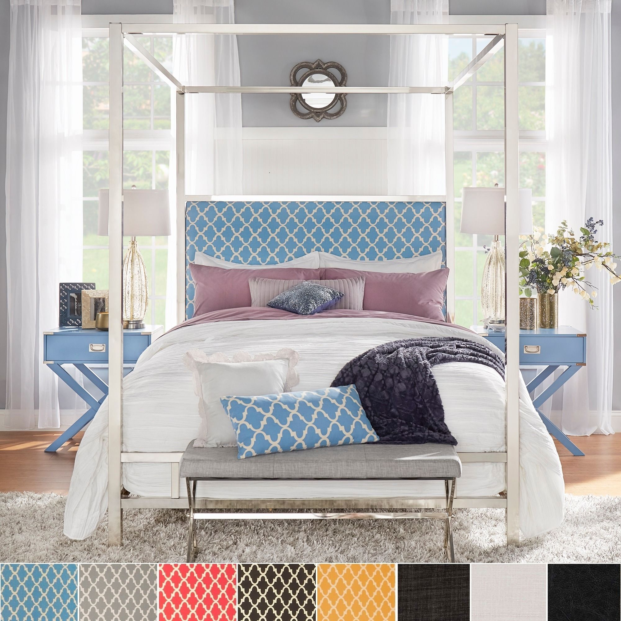 Solivita Full-size Canopy Chrome Metal Poster Bed by Inspire Q (Full-Gold  Finish), Gold