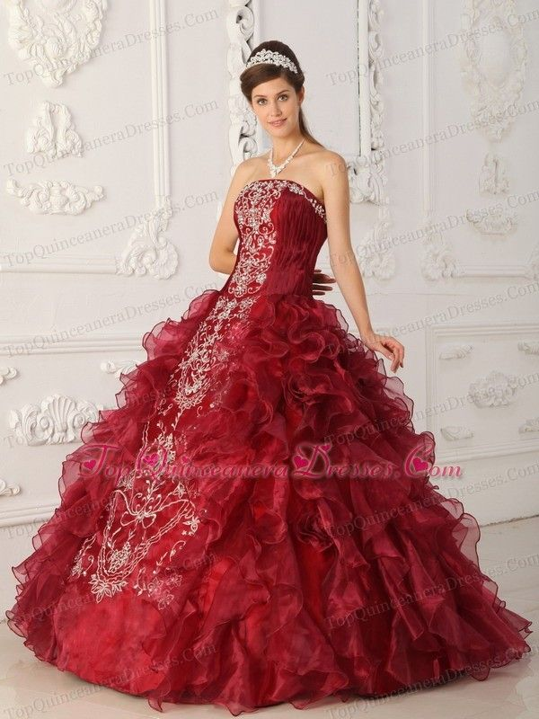Wine Red Quinceanera Dress Strapless Embroidery Ball Gown 15x Anos