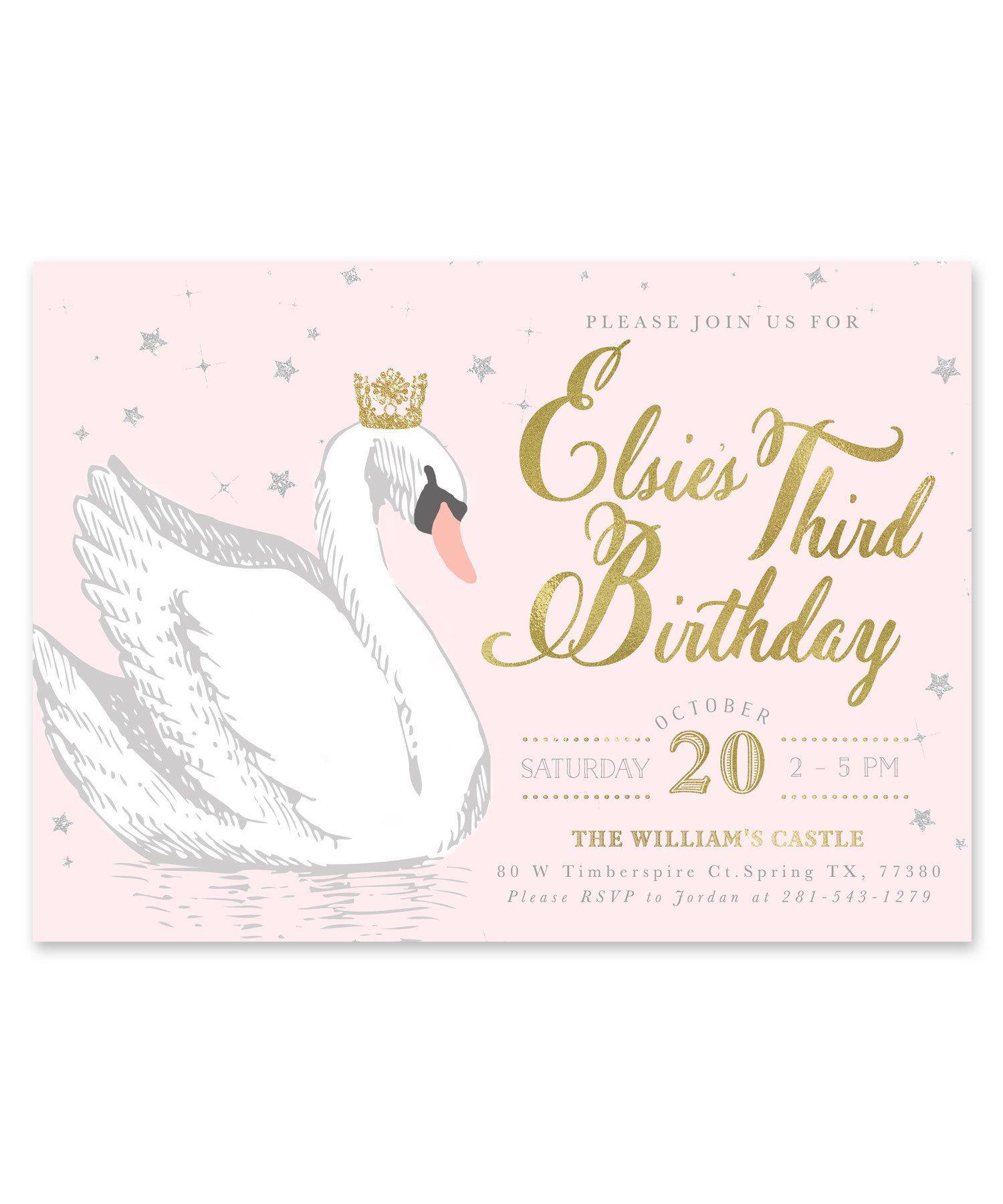 Elsie Swan Princess: Birthday Invitation {Light Pink ...