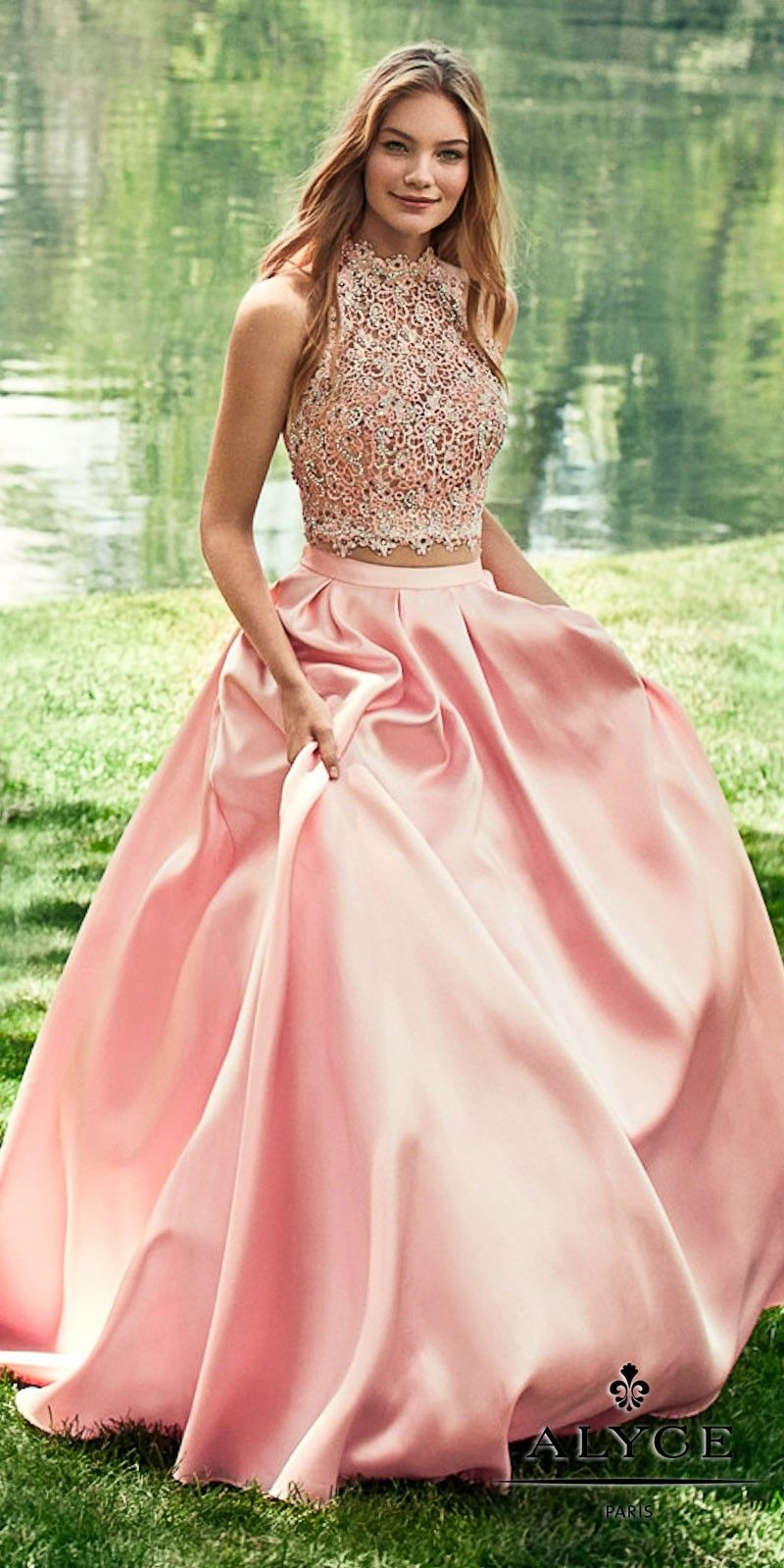 Two Piece Double Strap Open Back Ball Gown by Alyce Paris | Several ...