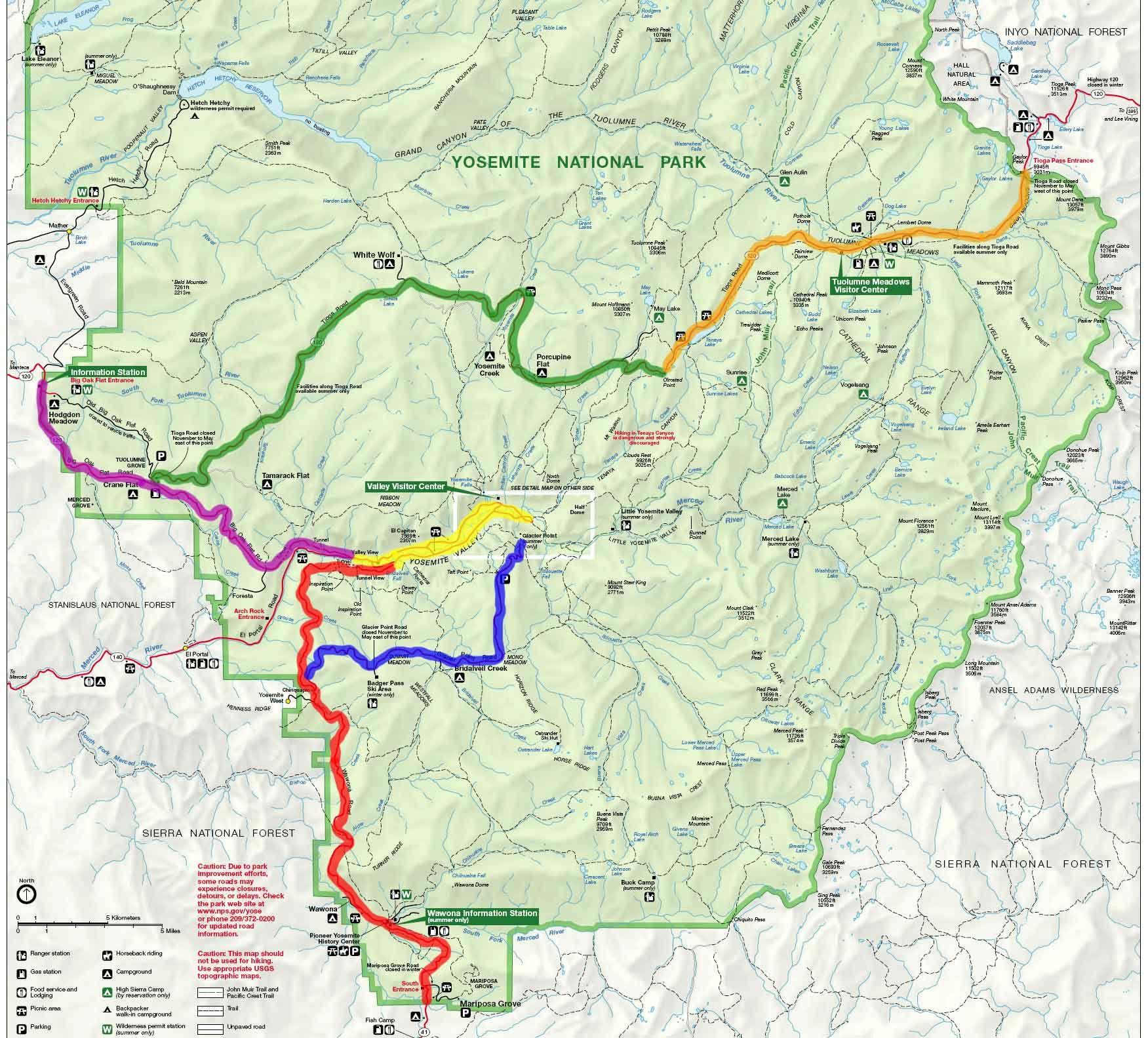 Yosemite National Park Scenic Drives Locator Map | West Coast ...