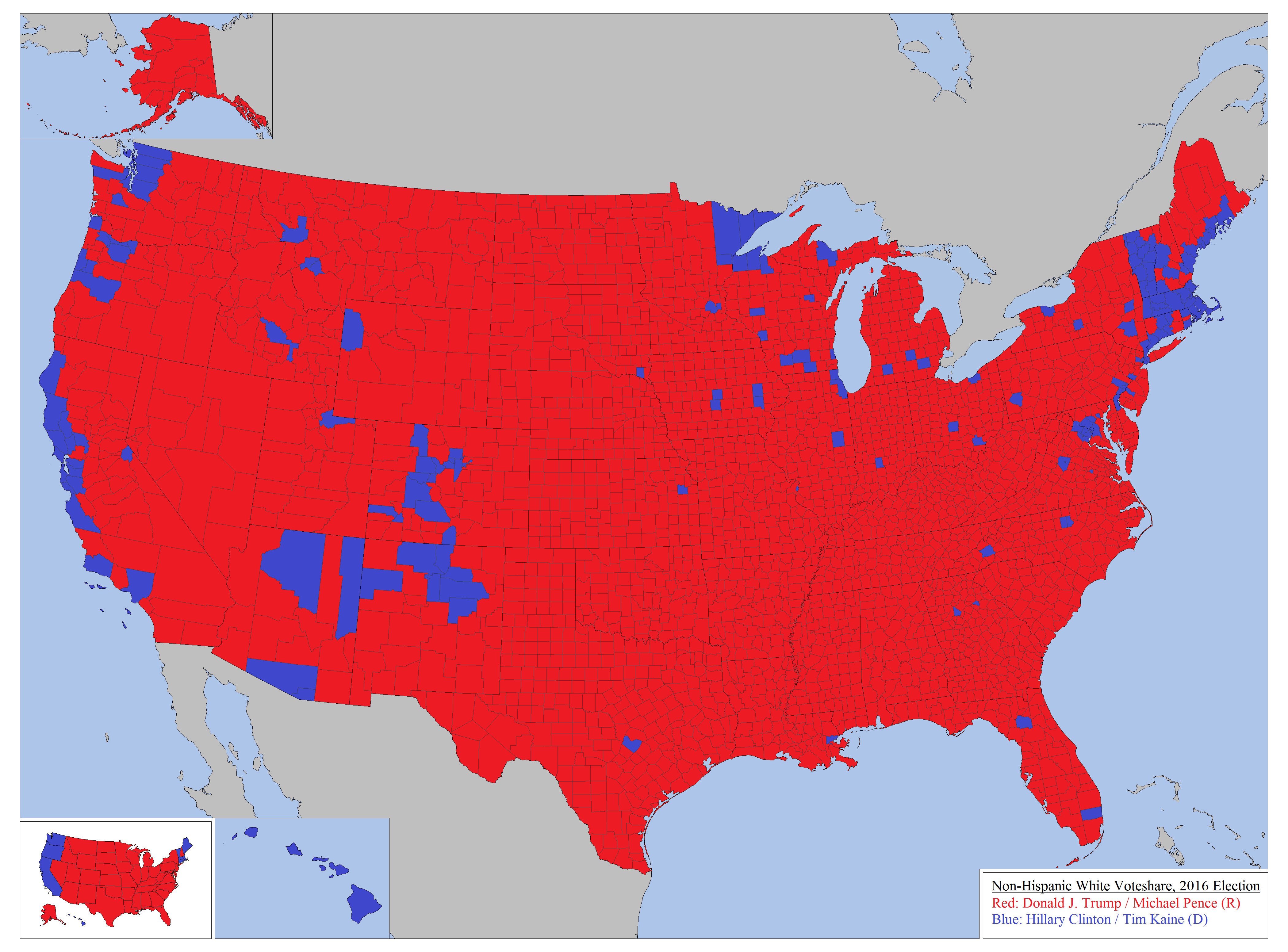 How Whites Voted In The  US Presidential Election By State - Us counties with most millionaires