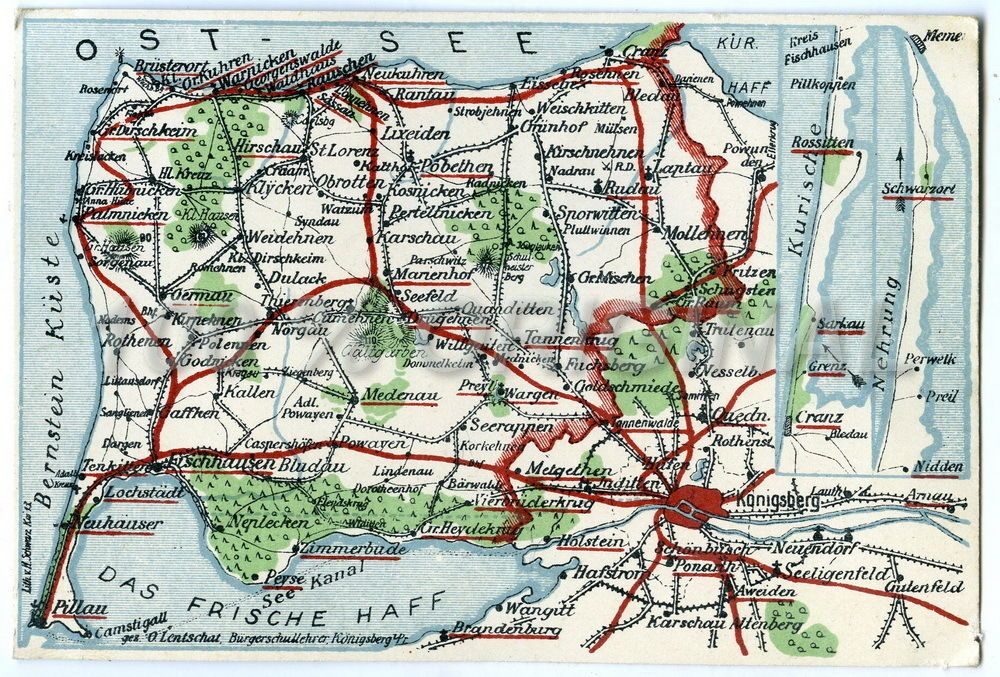 Königsberg Kaliningrad Karte.83 Postkarte Ak Königsberg Ostpreussen Preussen Karte Landkarte