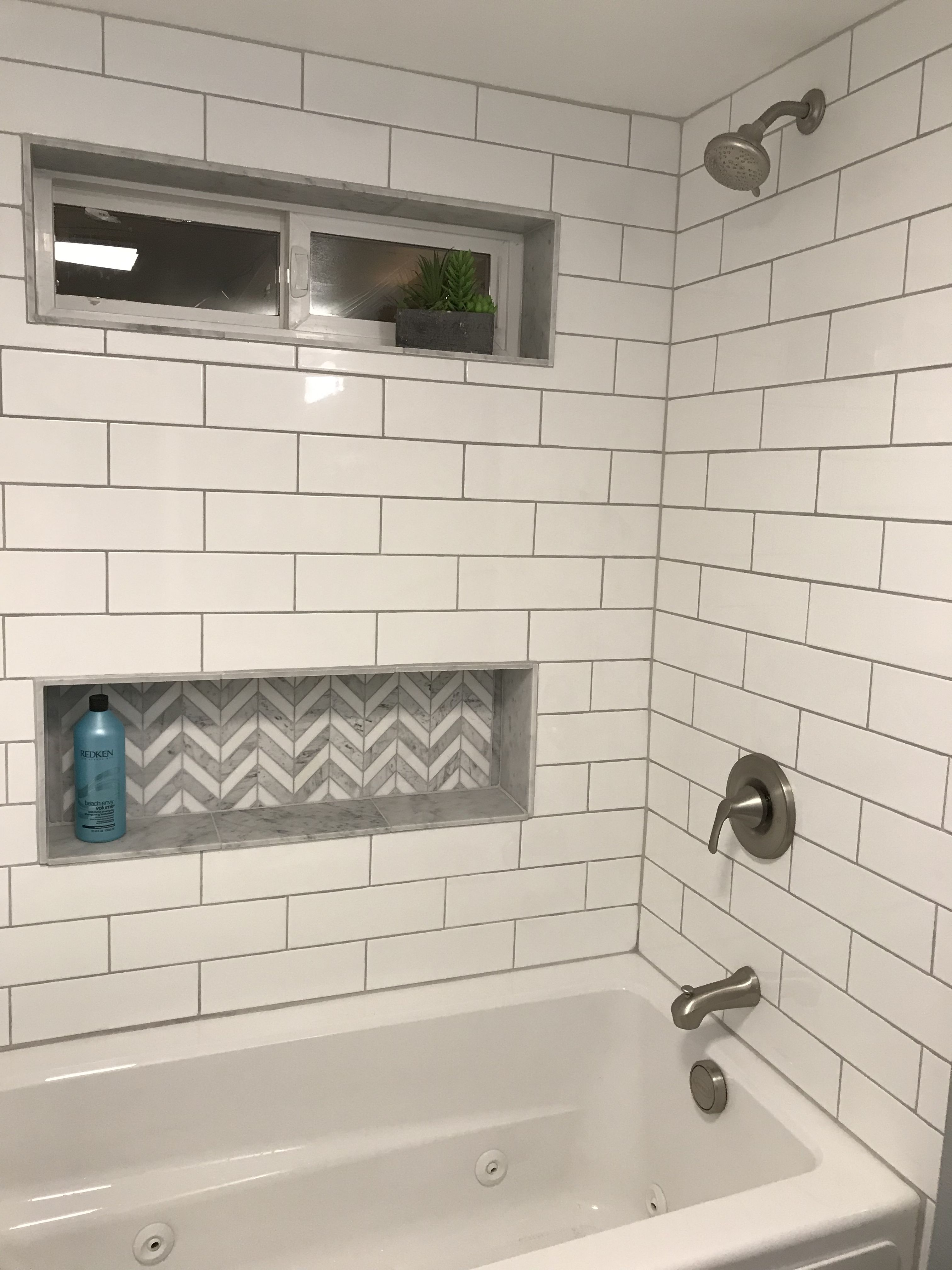 Bathroom Remodel Subway Tile Herringbone Shower Herringbone Tile Niche Herringbone Tile Inset Chevron T Shower Shelves Bathrooms Remodel Bathroom Makeover