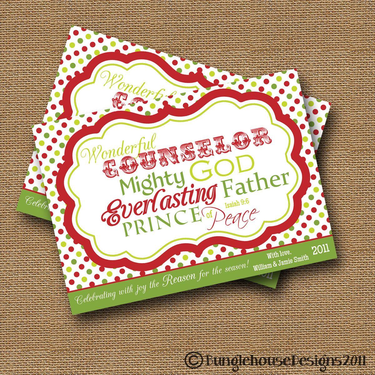Bible Verse Christmas Card | Christmas Typography | DIY PRINTABLE | Isaiah  9:6 | Wonderful Counselor | Christian, Scripture Christmas Card