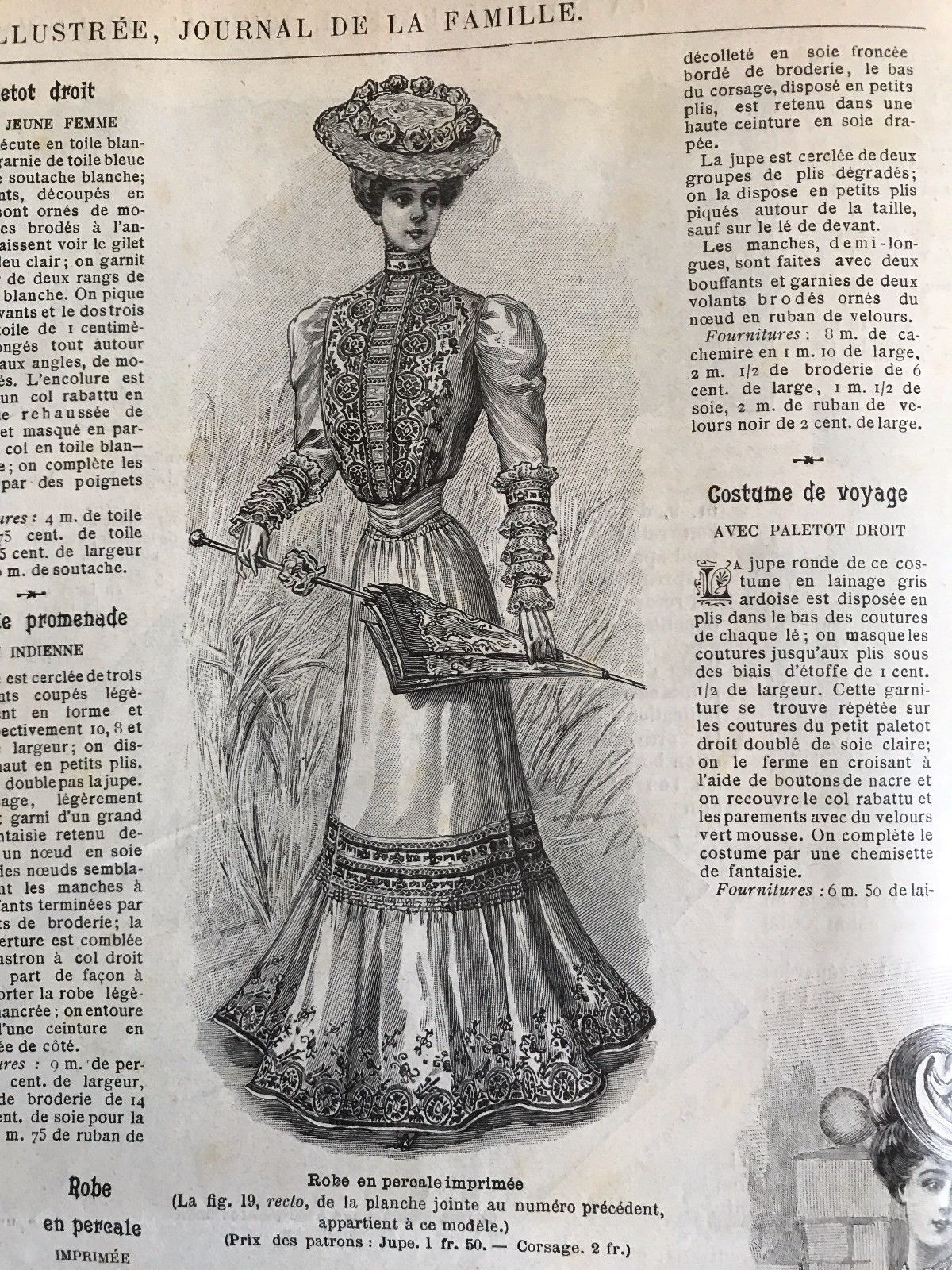 French MODE ILLUSTREE SEWING PATTERN July 17,1898 CORSET ROBE AVEC CORSAGE