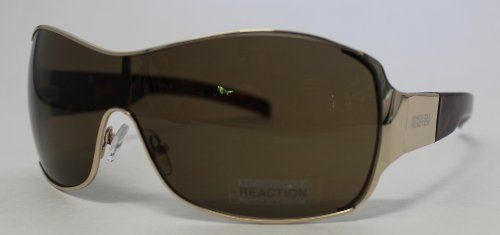 6b39f84c321a Kenneth Cole Reaction Metal Shiny Gold Shield Sunglass, Solid Brown Lenses  KC1104 32E Kenneth Cole REACTION. $19.99. Save 73%!