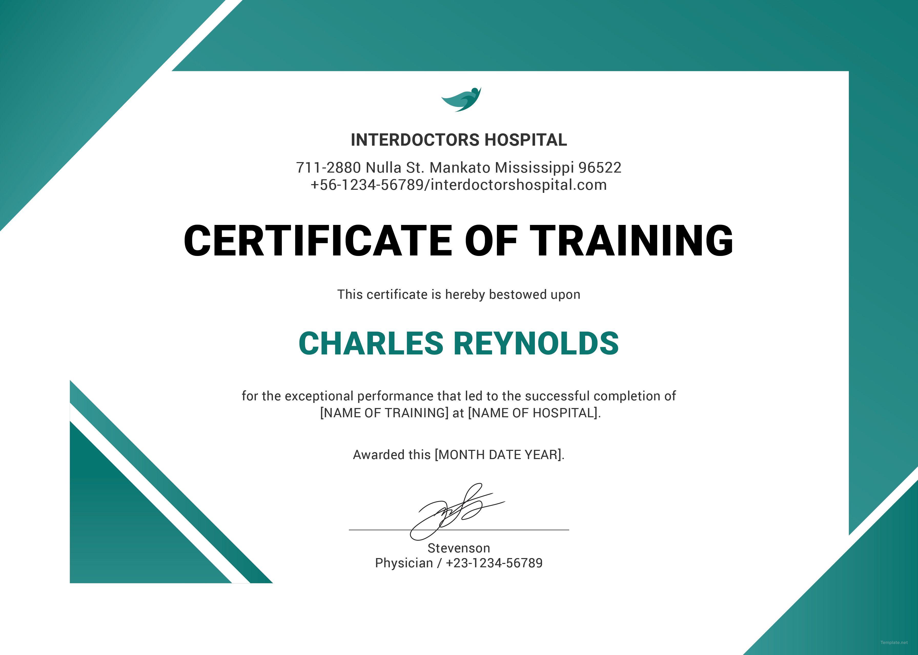 Free Hospital Training Certificate Training Certificate