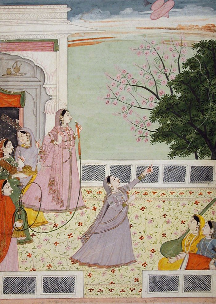 Women on a terrace, smoking and kite flying ca. 1785 Edwin Binney 3rd Collection The San Diego Museum of Art